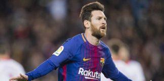 Lionel Messi merayakan golnya dalam laga lanjutan Liga Spanyol antara Barcelona vs Girona